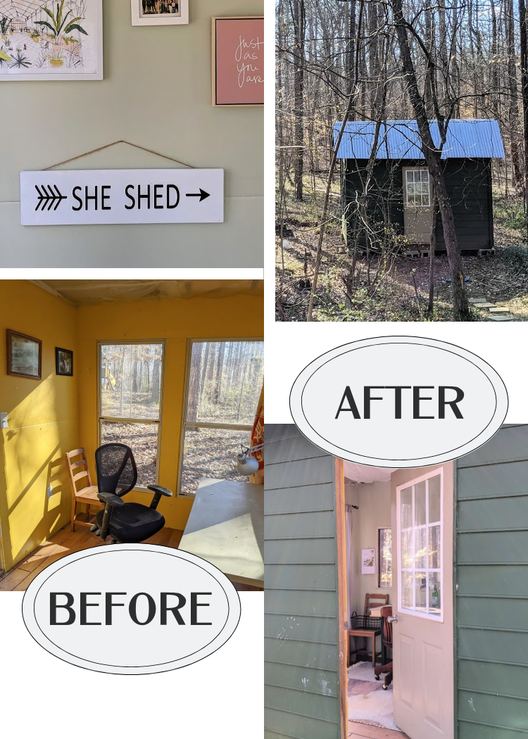 "I remodeled my husband's office in the woods into a perfect she-shed getaway and work space for me! Moreover, I tried to do as much as I could ""on a shoestring"", repurposing and buying second-hand when possible."
