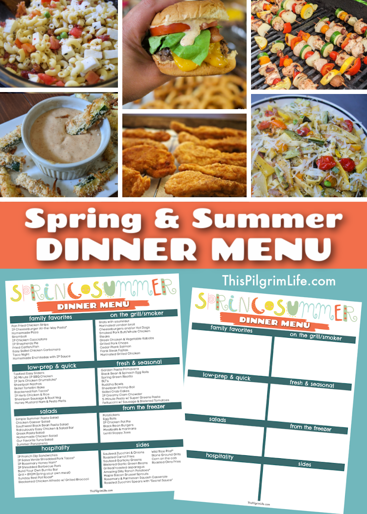 Check out this list of delicious, seasonal spring and summer dinner menu ideas! The recipes are divided up into convenient categories, and theres' even a printable menu to help make meal planning and dinner time simpler this summer!