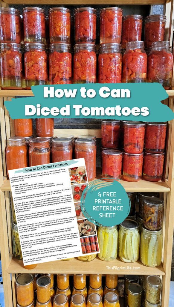 Canning diced tomatoes is a simple, basic way to preserve summer tomatoes at their peak of tastiness to enjoy the rest of the year! Here's how to can tomatoes in ten, easy-to-follow steps, with a free printable reference sheet to walk you through the process.