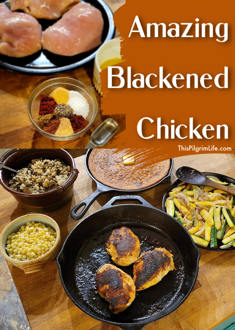 Easy, FLAVORFUL blackened chicken with a spicy, crisp exterior and a juicy interior. This blackened chicken is coated with a homemade spice rub, starts in a hot skillet, and finishes cooking in the oven.