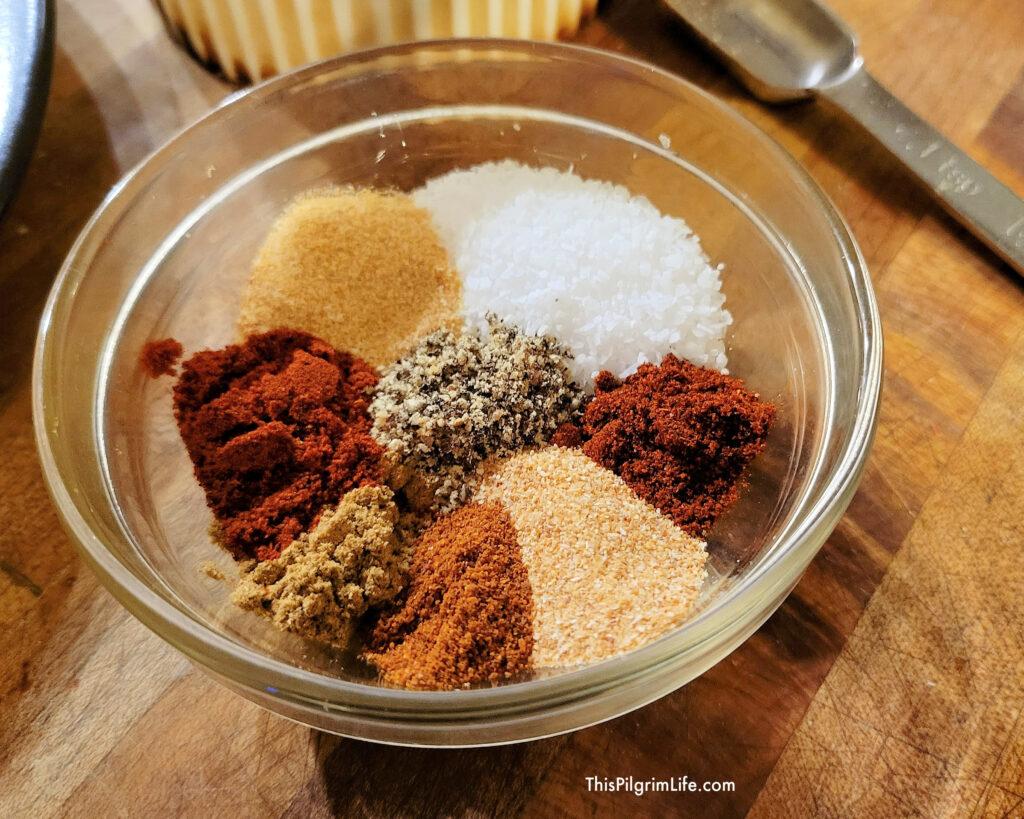 Homemade spice blend for the blackened chicken.
